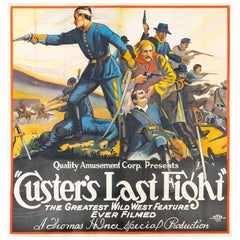 """Quality Amusement Co. """"Custer's Last Fight"""" Poster on Linen, circa 1920"""