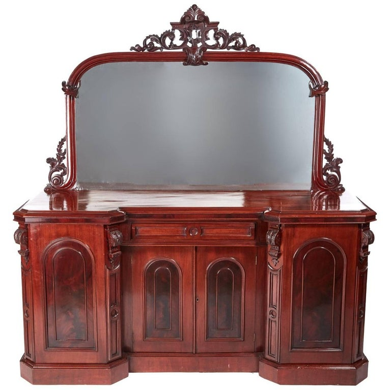 Quality Antique Carved Victorian Mahogany Mirror Back Sideboard