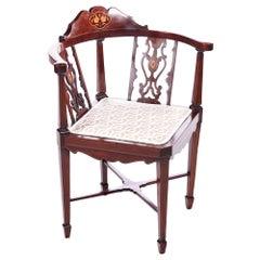 Quality Antique Edwardian Mahogany Inlaid Corner Chair