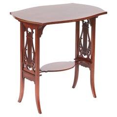 Quality Antique Edwardian Mahogany Inlaid Lamp Table