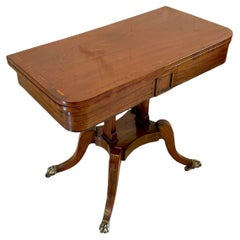 Quality Antique Regency Mahogany Inlaid Card Table