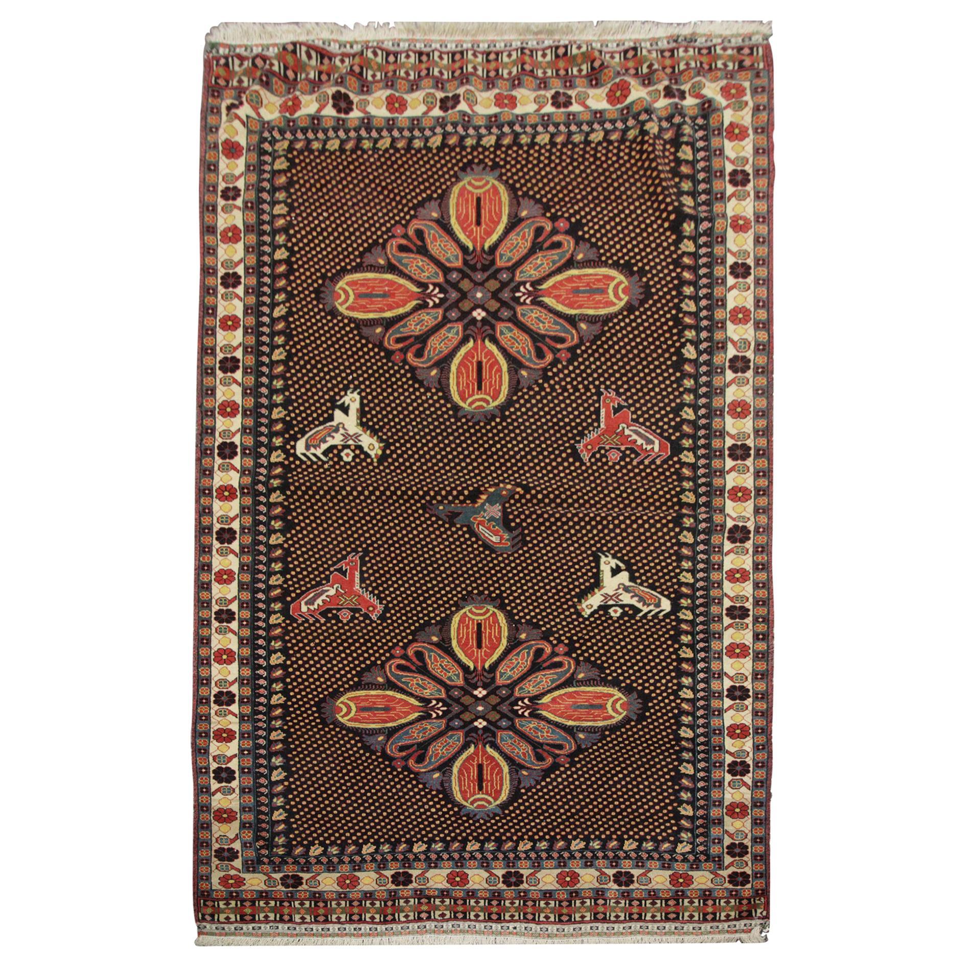 Quality Antique Rug Caucasian Karabagh Rug, Handmade Carpet Tribal Oriental Rug