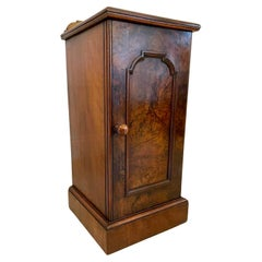 Quality Antique Victorian Burr Walnut Bedside Cabinet/Nightstand