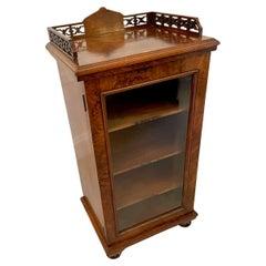 Quality Antique Victorian Burr Walnut Music Cabinet