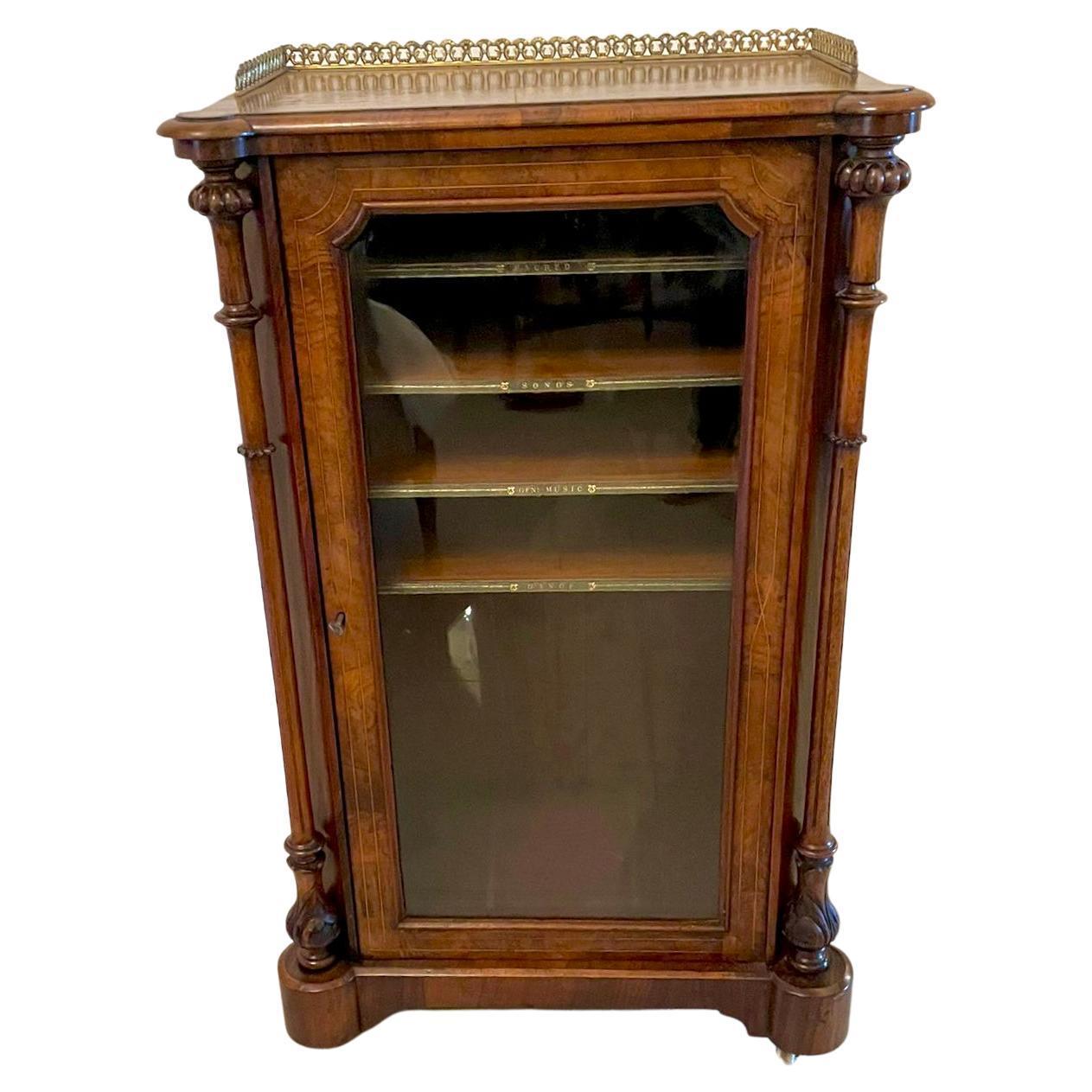 Quality Antique Victorian Inlaid Burr Walnut Music Cabinet