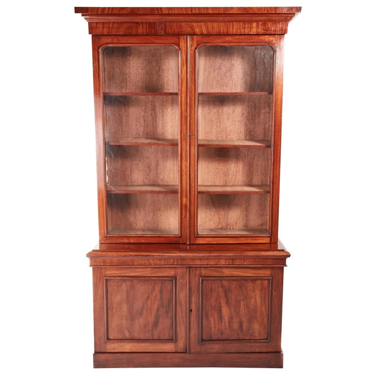 Quality Antique Victorian Mahogany Bookcase For Sale