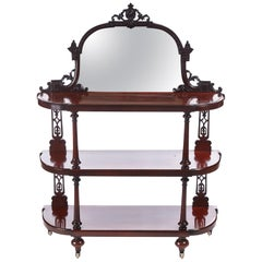 Quality Antique Victorian Mahogany Carved Mirror Back Whatnot