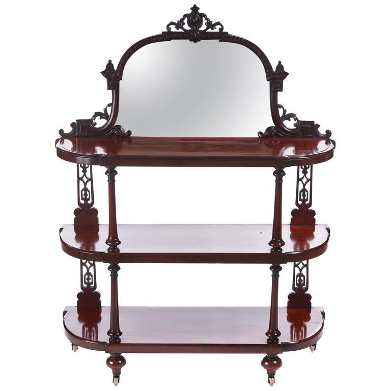 Quality Antique Victorian Mahogany Carved Mirror Back Whatnot For Sale