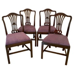 Quality Antique Victorian Set of Four Carved Mahogany Dining Chairs