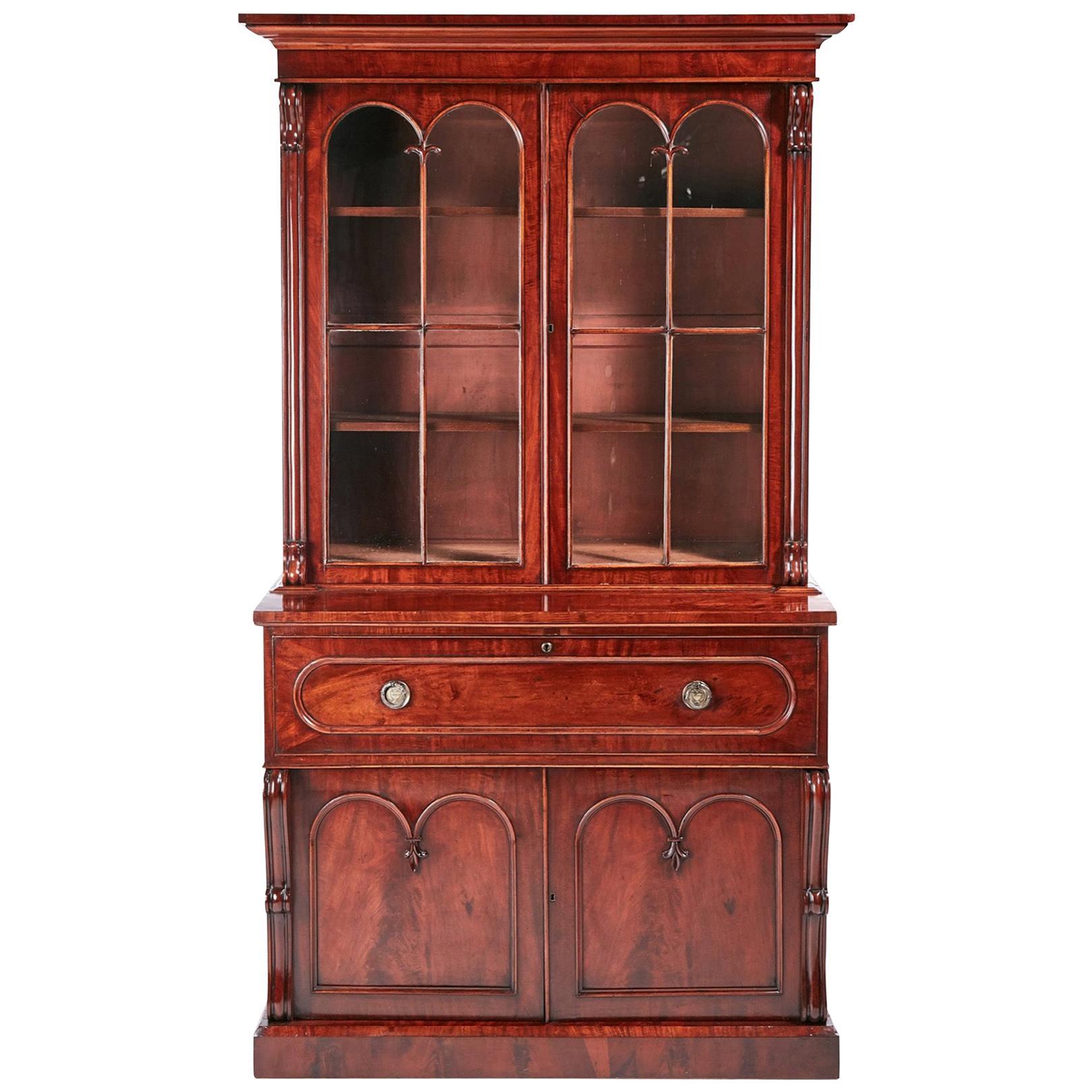 Quality Antique William IV Mahogany Secretaire Bookcase