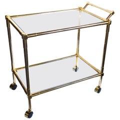 Quality Brass 1970s 2-Tier Brass and Glass Bar/Drinks Cart