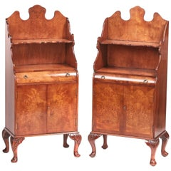 Quality Burr Walnut Near Pair of Side Cabinets