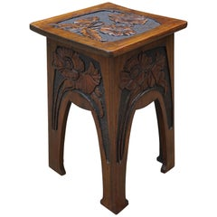 Quality Carved Arts & Crafts Table / Plant Stand with Poppy Flower Sculptures