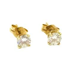 Diamond Studs .60 Carat VS2-G, 14 Karat Yellow Gold