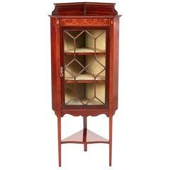 Quality Edwardian Mahogany Inlaid Corner Cabinet