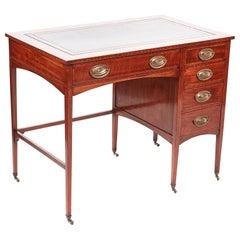 Quality Edwardian Mahogany Inlaid Freestanding Pedestal Desk