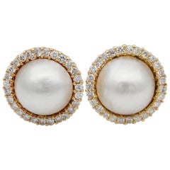Quality English Mabe Pearl 1.50 Carat G VVS Brilliant Cut Diamond Earrings