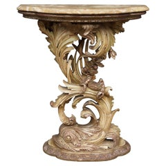 Top Quality Carved Venetian Side Table w. Dolphin & Crab Sculpture & Marble Top