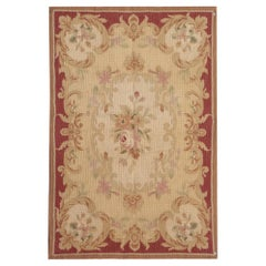 Quality Handmade Carpet Area Rug, Aubusson Style Rugs, Flat-Weave Needlepoint