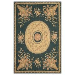 Quality Handmade Carpet Floor Area Green Aubusson Style Rugs Flat Needlepoint
