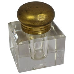 Quality Heavy Victorian Crystal Inkwell