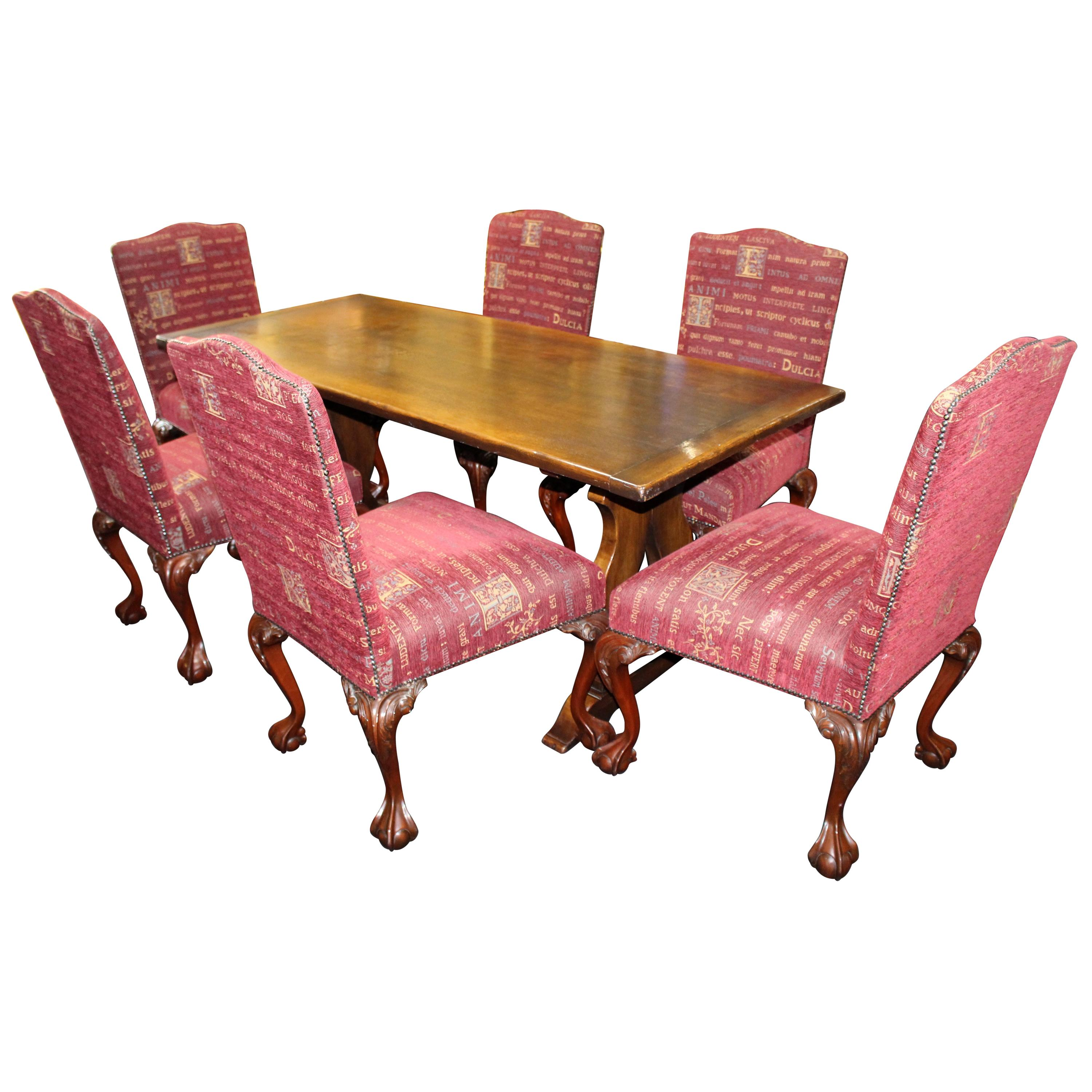 Antique Furniture Set 6 Edwardian Antique Solid Carved Mahogany Upholstered Dining Kitchen Chairs Quality First
