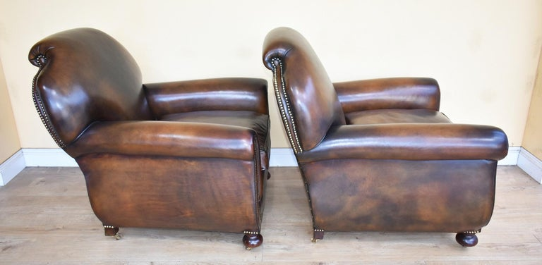 Quality Pair of Antique 20th Century Leather Club ...