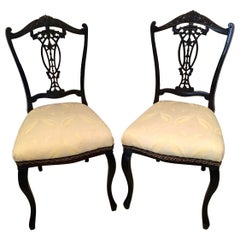 Quality Pair of 19th Century Antique Victorian Carved Ebonized Side/Desk Chairs