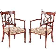 Quality Pair of Antique Mahogany Inlaid Arm or Desk Chairs