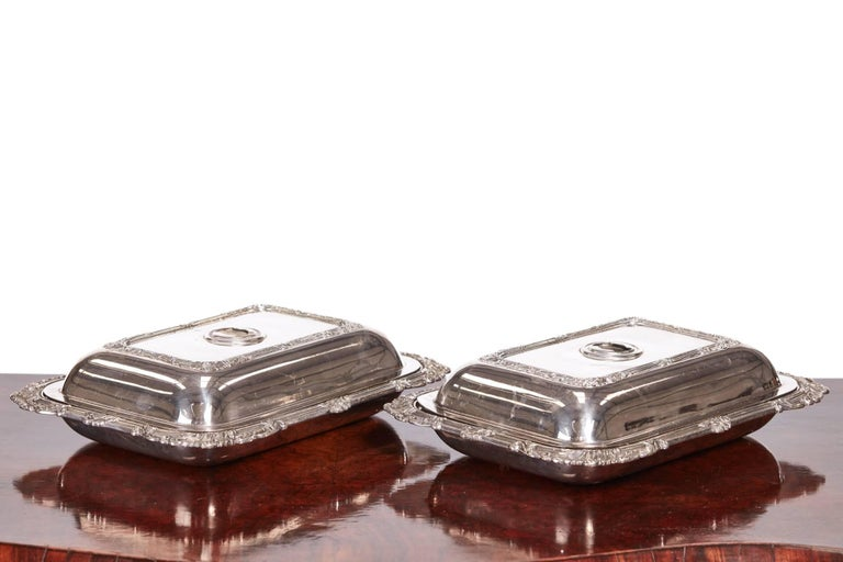 Quality pair of antique Sheffield plate entree dishes with foliate borders.