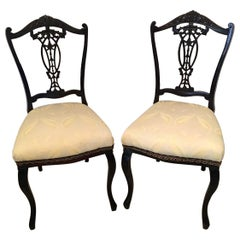Quality Pair of Antique Victorian Carved Ebonized Side/Desk Chairs