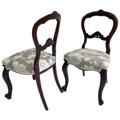 Quality Pair of Antique Victorian Walnut Cabriole Legged Side Chairs
