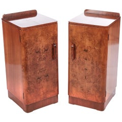 Quality Pair of Art Deco Burr Walnut Bedside Cabinets