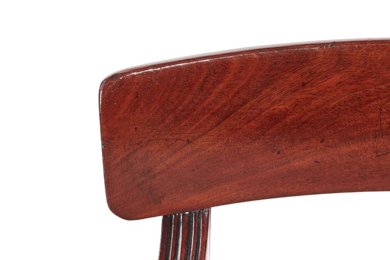 European Quality Pair of George III Mahogany Elbow / Desk Chairs For Sale
