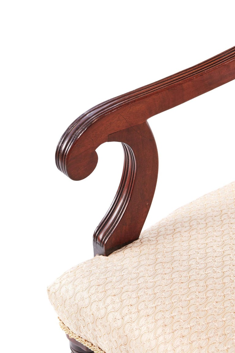Quality Pair of George III Mahogany Elbow / Desk Chairs For Sale 2