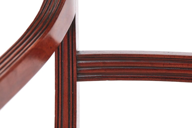 Quality Pair of George III Mahogany Elbow / Desk Chairs For Sale 4