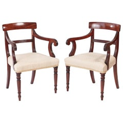 Quality Pair of George III Mahogany Elbow / Desk Chairs