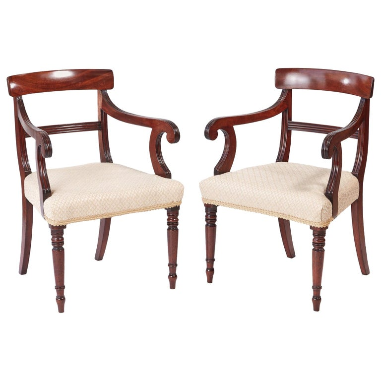 Quality Pair of George III Mahogany Elbow / Desk Chairs For Sale
