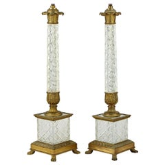 Quality Pair of Ormolu Mounted Cut Crystal Table Lamps