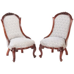 Quality Pair of Victorian Carved Walnut Ladies Chairs