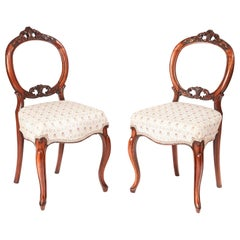 Quality Pair of Victorian Carved Walnut Side Chairs
