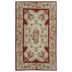 Quality Red Rug, Floral Aubusson Style Rugs, Floor Area Carpet Flat-Weave Rug