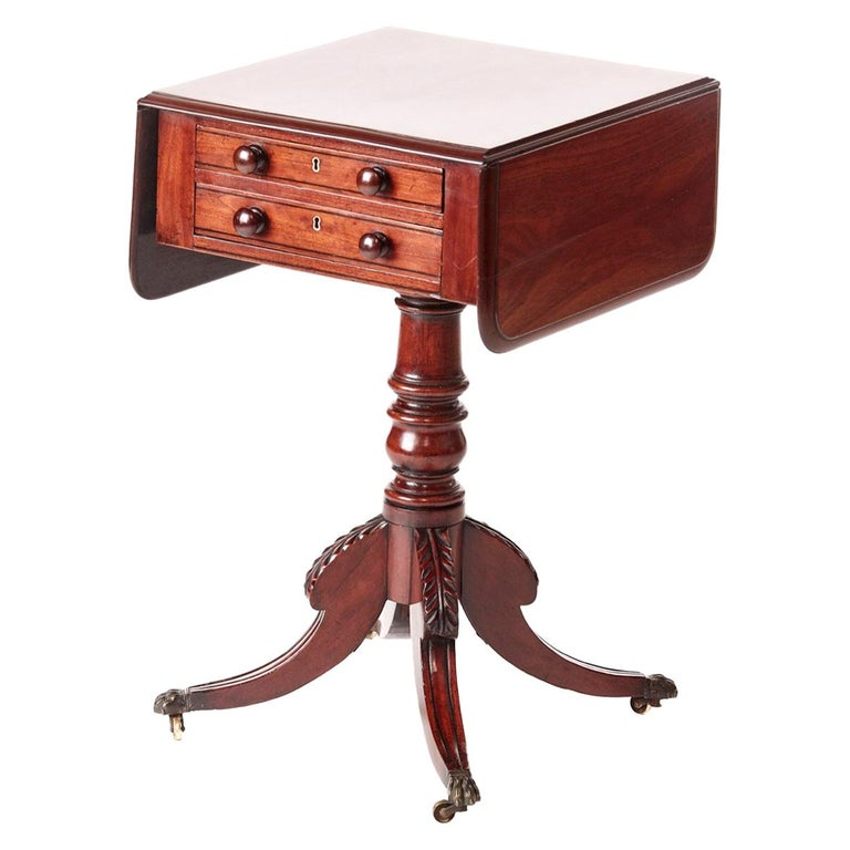 Quality Regency Mahogany Drop Leaf Lamp Table For Sale