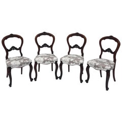 Quality Set of 4 Victorian Walnut Cabriole Legged Dining Chairs