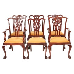 Quality Set Of 6 Mahogany Chippendale Style Dining Chairs