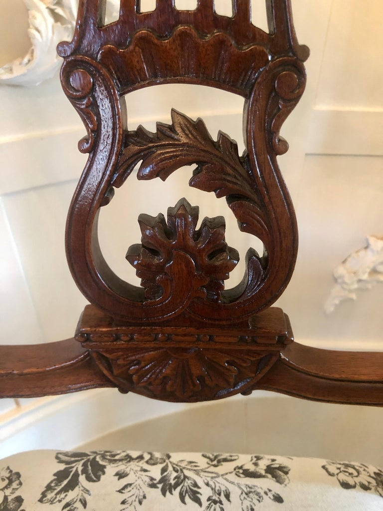 Hand-Carved Quality Set of Four 19th Century Antique Mahogany Victorian Dining Chairs For Sale