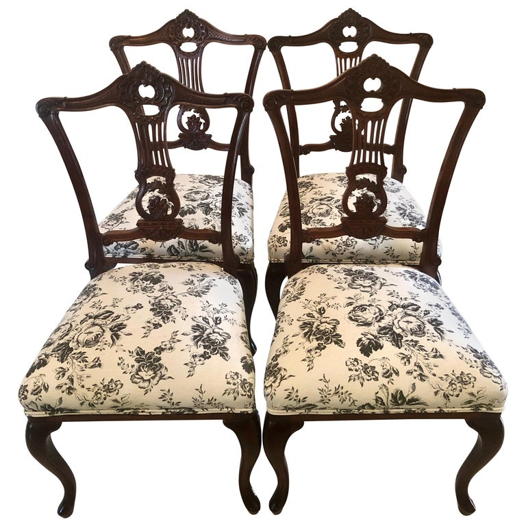 Quality Set of Four 19th Century Antique Mahogany Victorian Dining Chairs For Sale