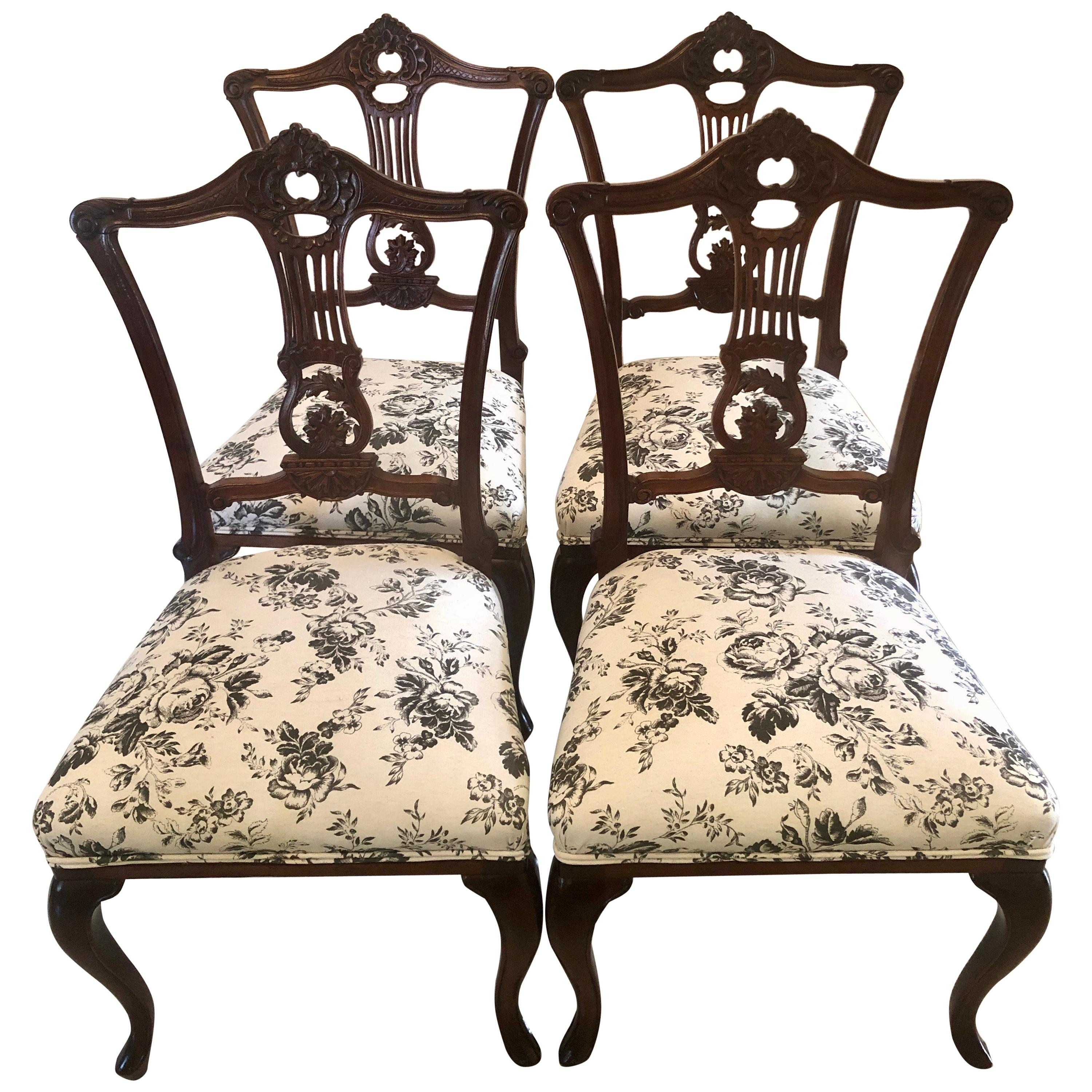 Quality Set of Four Antique Mahogany Victorian Dining Chairs