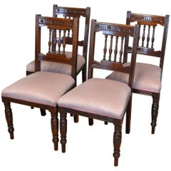 Quality Set of Four Victorian Walnut Antique Dining Chairs