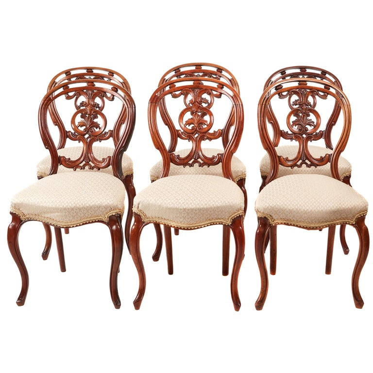 Quality Set of Six Victorian Antique Carved Walnut Dining Chairs For Sale
